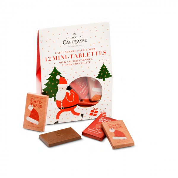 Café-Tasse - Geschenkbox mit belgischen Weihnachtsschokoladen-Täfelchen