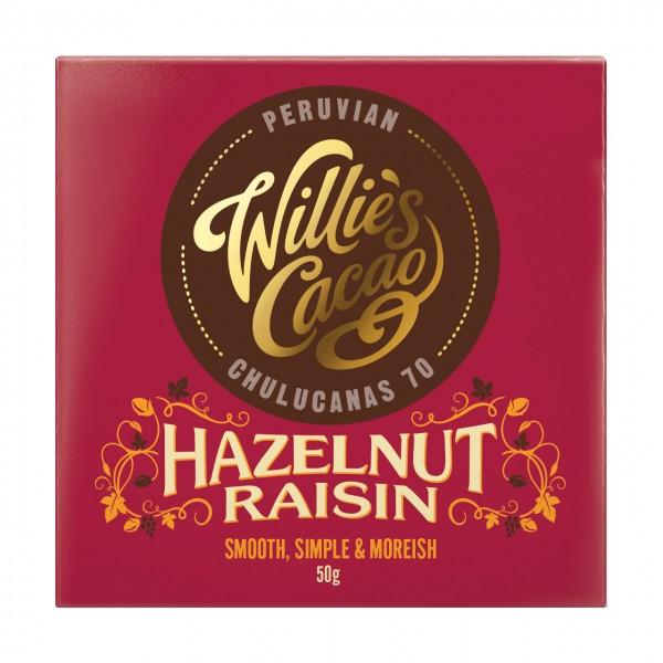 Willie`s Cacao - Dunkle Schokolade mit Rosinen und Haselnüssen