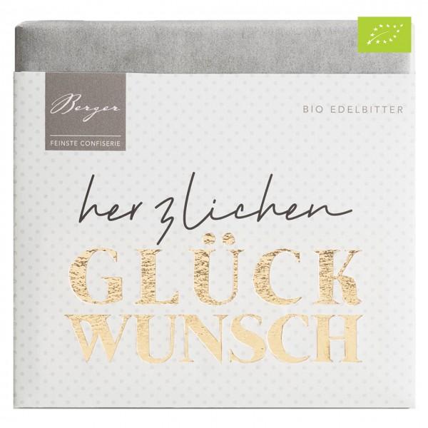 """Berger - Dunkle Bio-Schokolade """"Herzlichen Glückwunsch"""""""