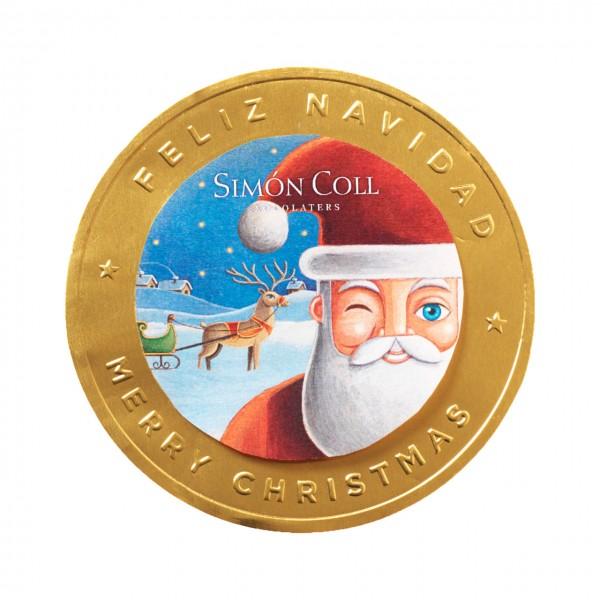Simon Coll - Goldene Weihnachtsmünze aus Vollmilchschokolade