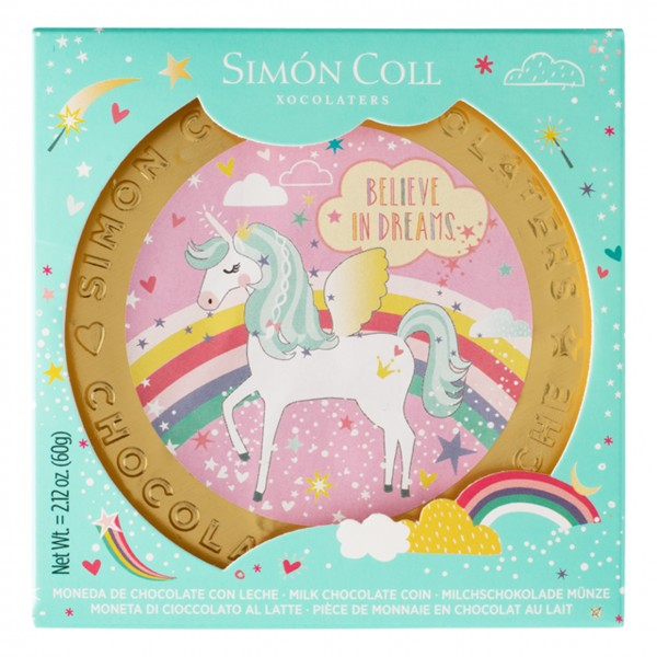 Simon Coll - Goldene Einhornmünze aus Vollmilchschokolade