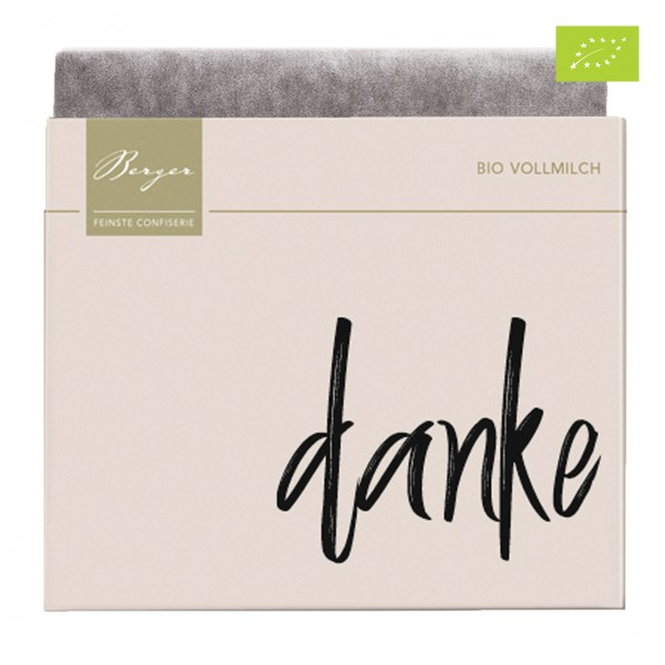"Berger Confiserie - Bio Vollmilch-Schokolade ""Danke"""