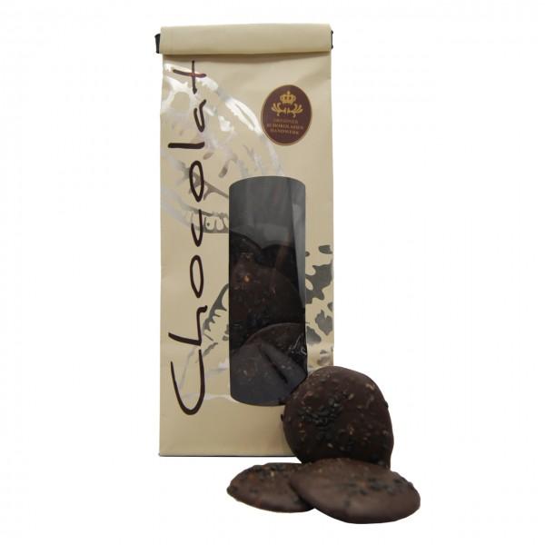 Dresdner Handwerk - Dunkler Schokoladentaler mit schwarzem Sesam & Sesam