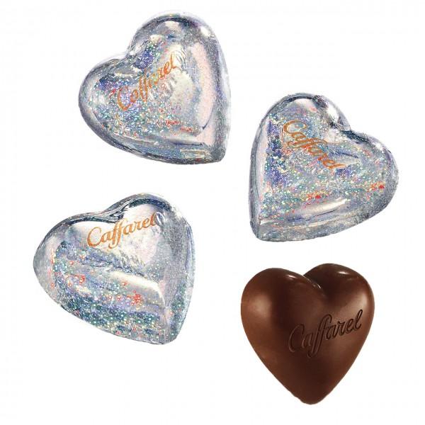 Caffarel - dunkle Schokoladenherzen mit Liebesgruß