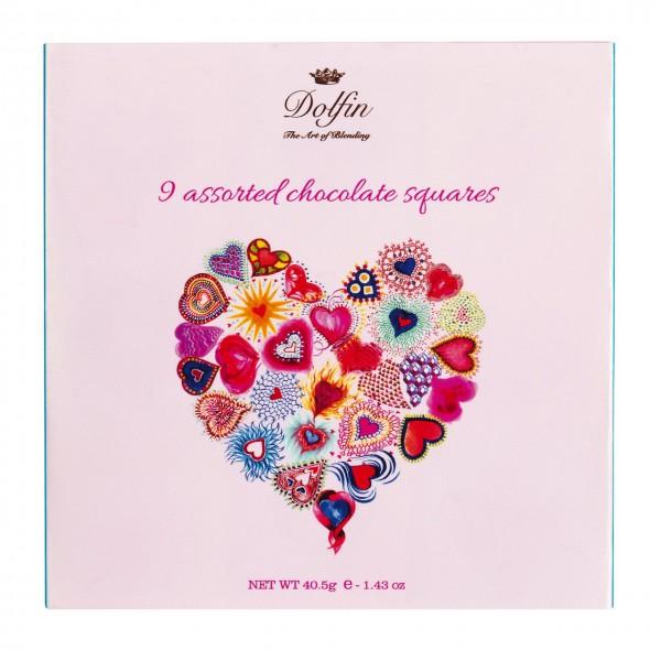 """Dolfin - Carré mit 9 Minitäfelchen """"Love"""""""