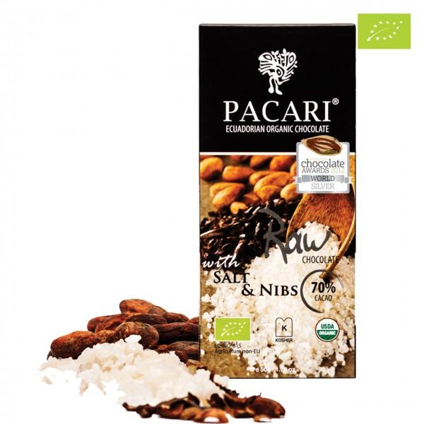 "PACARI ""RAW 70 mit Salz & Kakaosplitter"" Bio-Schokolade Rohschokolade"
