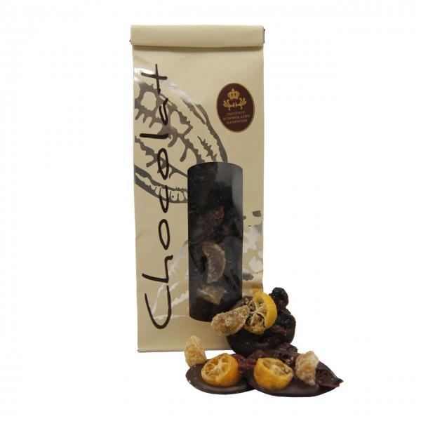Dresdner Handwerk - Dunkler Schokoladentaler mit Ingwer, Kumquat & Cranberry