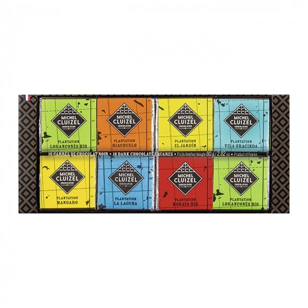 Michel Cluizel - Geschenk-Etui mit dunklen Herkunftsschokoladen