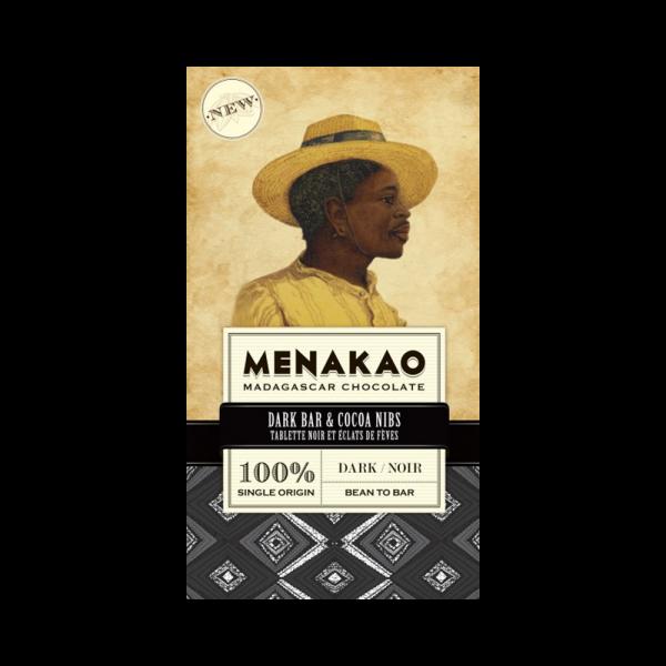 Menakao - Dunkle 100%ige Schokolade mit Kakaonibs