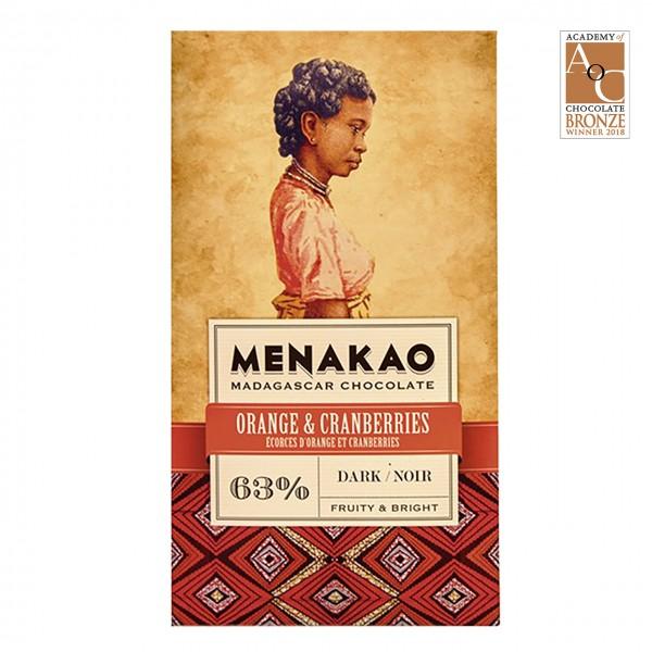 Menakao - Dunkle Schokolade mit Orange & Cranberries